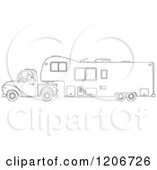 Outlined Man Driving A Pickup Truck And Hauling A Camper Fifth Wheel Trailer