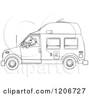 Cartoon Of An Outlined Man Driving A Class B Motorhome Royalty Free Vector Clipart by djart