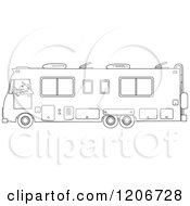 Cartoon Of An Outlined Man Driving A Class A Motorhome Royalty Free Vector Clipart by Dennis Cox