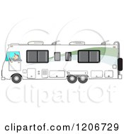 Cartoon Of A Man Driving A White Class A Motorhome Royalty Free Vector Clipart