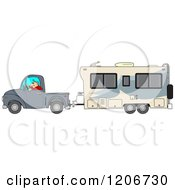 Cartoon Of A Man Driving A Pickup Truck And Hauling A Camper Trailer Royalty Free Vector Clipart by djart