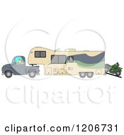 Cartoon Of A Man Driving A Pickup Truck And Hauling A Trailer And ATV Royalty Free Vector Clipart
