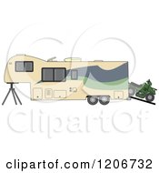Cartoon Of A Toy Hauler Trailer And ATV Royalty Free Vector Clipart