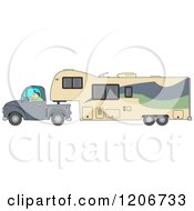 Cartoon Of A Man Driving A Pickup Truck And Hauling A Camper Fifth Wheel Trailer Royalty Free Vector Clipart by djart
