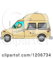 Cartoon Of A Man Driving A Class B Motorhome Royalty Free Vector Clipart by djart