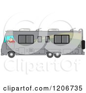 Cartoon Of A Man Driving A Gray Class A Motorhome Royalty Free Vector Clipart by djart