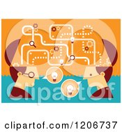 Clipart Of Two Businessmen With Open Creative Brains And Ideas Royalty Free Vector Illustration