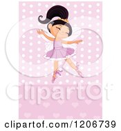 Cartoon Of A Happy Ballerina Princess Girl Dancing Over Pink Hearts And Polka Dots Royalty Free Vector Clipart by Pushkin