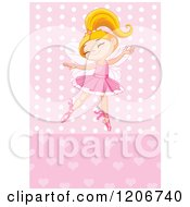 Happy Blond Ballerina Princess Girl Dancing Over Pink Hearts And Polka Dots