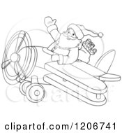 Outlined Santa Flying A Biplane And Waving