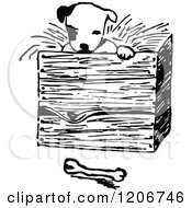 Clipart Of A Vintage Black And White Puppy In A Box Royalty Free Vector Illustration