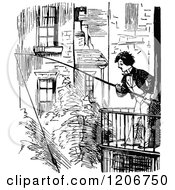 Clipart Of A Vintage Black And White Man Fishing From A Balcony Royalty Free Vector Illustration by Prawny Vintage