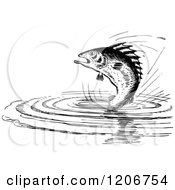 Clipart Of A Vintage Black And White Fish Jumping From Water Royalty Free Vector Illustration by Prawny Vintage