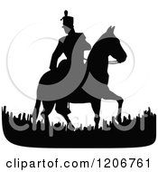 Vintage Black And White Silhouetted Horseback Soldier
