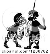 Clipart Of Vintage Black And White Scottish Rivals Royalty Free Vector Illustration