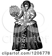 Clipart Of A Vintage Black And White Elizabethan Woman Royalty Free Vector Illustration