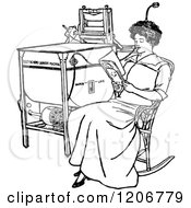 Clipart Of A Vintage Black And White Woman Reading By An Antique Laundry Machine Royalty Free Vector Illustration by Prawny Vintage