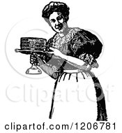 Clipart Of A Vintage Black And White Maid Serving A Cake Royalty Free Vector Illustration