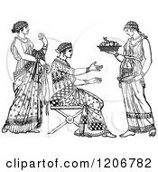 Clipart Of A Vintage Black And White Servant And Grecian Ladies Royalty Free Vector Illustration