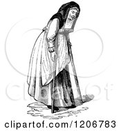 Clipart Of A Vintage Black And White Crippled Lady Royalty Free Vector Illustration