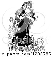 Clipart Of A Vintage Black And White Princess With Owl And Flowers Royalty Free Vector Illustration by Prawny Vintage