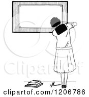 Clipart Of A Vintage Black And White Female College Student By A Board Royalty Free Vector Illustration