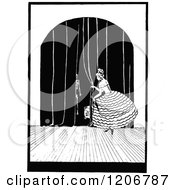Clipart Of A Vintage Black And White Lady Pulling Back Curtains On Stage Royalty Free Vector Illustration by Prawny Vintage