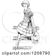 Clipart Of A Vintage Black And White Pretty Girl Sitting On A Fence Royalty Free Vector Illustration