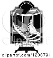 Clipart Of A Vintage Black And White Formal Woman On A Staircase Royalty Free Vector Illustration