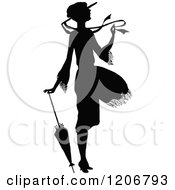 Clipart Of A Vintage Black And White Silhouetted Woman In A Breeze With An Umbrella Royalty Free Vector Illustration by Prawny Vintage