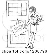 Clipart Of A Vintage Black And White Female Teacher With A Study Sign Royalty Free Vector Illustration by Prawny Vintage
