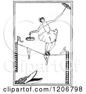 Vintage Black And White Ballerina Tight Rope Walking Over An Alligator
