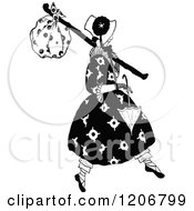 Clipart Of A Vintage Black And White Vagrant Lady Royalty Free Vector Illustration