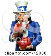 Clay Sculpture Clipart 3d Uncle Sam Holding A Phone And Urging You To Call Royalty Free 3d Illustration by Amy Vangsgard #COLLC12068-0022