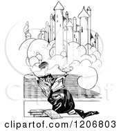 Clipart Of A Vintage Black And White Woman Reading Under A Castle Royalty Free Vector Illustration