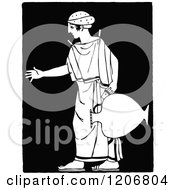 Clipart Of A Vintage Black And White Doric Woman With A Jug Royalty Free Vector Illustration