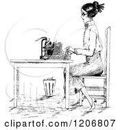 Vintage Black And White Woman Typing At A Desk