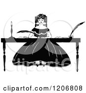 Clipart Of A Vintage Black And White Woman Writing At A Desk Royalty Free Vector Illustration by Prawny Vintage