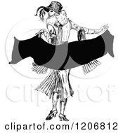 Clipart Of A Vintage Black And White Elegant Lady Holding A Scarf Royalty Free Vector Illustration
