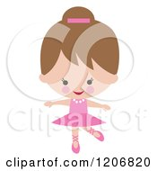 Cartoon Clipart Of A Cute Ballerina Girl Dancing In A Pink Tutu Royalty Free Vector Illustration by peachidesigns