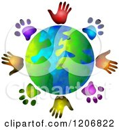 Clipart Of A Globe Circled By Diverse Hand And Paw Prints Royalty Free Illustration by Prawny #COLLC1206822-0089