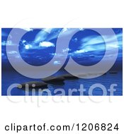 Clipart Of A 3d Ocean With Stepping Stones Under A Blue Sky Royalty Free CGI Illustration by KJ Pargeter