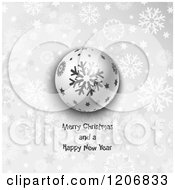 Clipart Of A Grayscale Snowflake Orb With Merry Christmas And Happy New Year Text Royalty Free Vector Illustration
