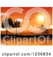 Clipart Of An Orange Sunset Over Mountains Trees And Water With Birds Royalty Free Vector Illustration