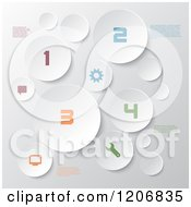 Clipart Of White Circles With Infographics Sample Text And Colorful Numbers Royalty Free Vector Illustration by KJ Pargeter