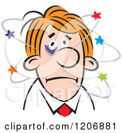Cartoon Of A Man With A Black Eye And Stars Royalty Free Vector Clipart