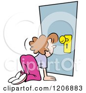 Cartoon Of A Happy Snooping Woman Looking Through A Key Hole Royalty Free Vector Clipart by Johnny Sajem