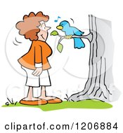 Cartoon Of A Woman And Singing Bluebird Royalty Free Vector Clipart by Johnny Sajem