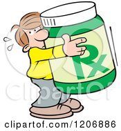 Cartoon Of A Man Hugging A Giant Bottle Of Meds Royalty Free Vector Clipart by Johnny Sajem