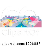 Cartoon Of A Commercial Street With Shops And A Road Royalty Free Vector Clipart
